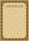 Vektormall av det detaljerade certifikatet Arkivbild