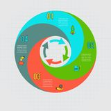 Vektormall för cirkuleringsdiagram, graf, presentation och runt diagram Arkivbild