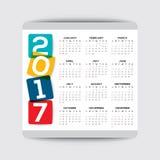 vektormall för 2017 kalender stock illustrationer