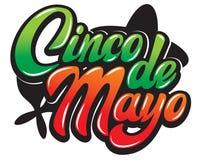Vektormall med calligraphic bokstäver för beröm Cinco de Mayo vektor illustrationer