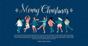 Vektormall med kvinnaskridskon Lynne för jul och för nytt år stock illustrationer