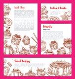 Vektormallar för bageri shoppar kakadessers royaltyfri illustrationer