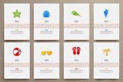 Vektormallar för företags identitet ställde in med klotterhavstema royaltyfri illustrationer