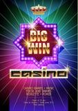 Vektormallen av reklambladet för kasinohändelse med neon färgar på bakgrund Royaltyfria Bilder