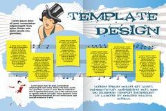 Vektormallhäfte på inhemsk ferie- eller musikfestival royaltyfri illustrationer
