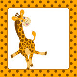 Vektormallkortet med behandla som ett barn giraffet och polkan Dot Background Royaltyfri Bild