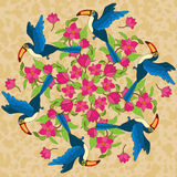 Vektormandala mit Vögeln und Blumen Stockfoto