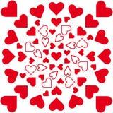 Vektormandala, rote Herzen im Kreis lizenzfreie abbildung
