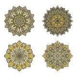 Vektormandalen Farbiger Mandalasatz Orientalische runde Verzierung asiatisches Gestaltungselement Lizenzfreie Stockfotografie