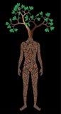 Vektormann mit dem Kopf des Baums Lizenzfreies Stockfoto