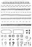 Vektormarkörbeståndsdelar, handteckning Arkivbilder