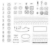 Vektormarkörbeståndsdelar, handteckning vektor illustrationer