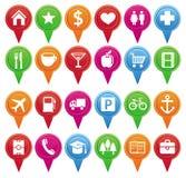 Vektormarkierungen für Karte und Plan Stockbild