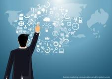 Vektormarknadsföringsaffärsman som runt om världen arbetar för att meddela lyckat med designen för världskartasymbolslägenhet vektor illustrationer