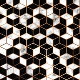 Vektormarmortextur, sömlös modelldesign med guld- geometriska linjer och kuber, svartvit marmorera yttersida royaltyfri illustrationer