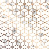 Vektormarmortextur, sömlös modelldesign med guld- geometriska linjer och kuber, svartvit marmorera yttersida vektor illustrationer