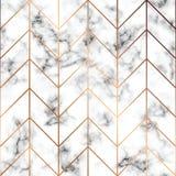 Vektormarmortextur, sömlös modelldesign med guld- geometriska linjer, svartvit marmorera yttersida, modernt lyxigt vektor illustrationer