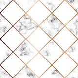 Vektormarmortextur, sömlös modelldesign med vita fyrkanter vektor illustrationer