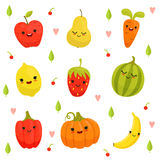 Vektormaskotdesign av tecknad filmfrukter och grönsaker stock illustrationer