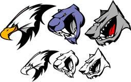 Vektormaskottchen-Adler-Leoparden-Wolf Stockbilder