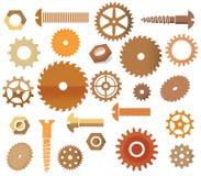 Vektormaterialien (Kreissäge, Zahnräder, scre Lizenzfreies Stockbild