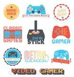 Vektormateriel: Den Retro videospelet shoppar etiketter royaltyfri illustrationer