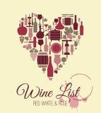 Vektormaterielhjärta av vin Arkivfoto