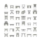 Vektormöbellinie Ikonen, Tabellensymbole Schattenbild der unterschiedlichen Tabelle - Abendessen, Schreiben, Frisierkommode Linea Stockbild