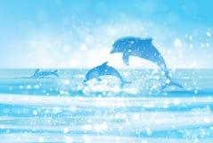 Vektormeer und -delphine Stockbild