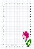Vektormellanrum för bokstavs- eller hälsningkort Rutigt papper, vit kvadrerad form med rosa färgrosen, blad och gräns Arkivbild