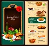 Vektormenüschablone des spanischen Kücherestaurants Stockbild