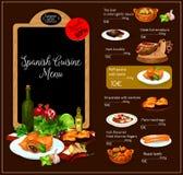 Vektormeny av den spanska kokkonstrestaurangen vektor illustrationer