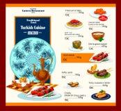 Vektormenymall av den turkiska kokkonstrestaurangen royaltyfri illustrationer