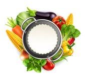 Vektormenymodell med grönsakmorötter, kål, basilika, till vektor illustrationer