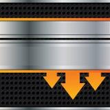 Vektormetallhintergrund mit orange Pfeilen Stockfotografie