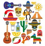 VektorMexiko symboler vektor illustrationer
