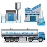 Vektormineralvattenproduktion vektor illustrationer