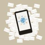 Vektormitteilungs-E-Mail-Geschäft auf Handygerät Stockbilder
