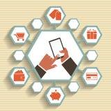 Vektormobilen app - email marknadsföringen och befordran. Royaltyfria Bilder