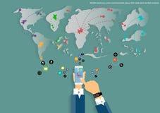 Vektormobilen och reser världskartan av designen för lägenheten för symbolen för affärskommunikationen, för handeln, för marknads Fotografering för Bildbyråer