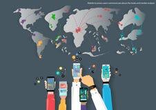 Vektormobilen och reser världskartan av designen för lägenheten för symbolen för affärskommunikationen, för handeln, för marknads Arkivbild