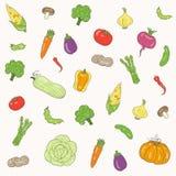 Vektormodell av grönsaker för att förpacka, scrapbooking och material Arkivbilder