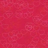 Vektormodell av rosa, orange och röda hjärtor på karmosinröd bakgrund royaltyfri illustrationer