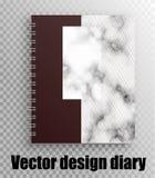 Vektormodell des Notizblockes, Tagebuch auf einem Frühling Marmorbeschaffenheit - stilvoller Druck vektor abbildung
