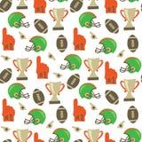 Vektormodell för amerikansk fotboll Hjälm trofé, skumfinger, fotboll som upprepar bakgrund Bakgrund för Super Bowltappningstil stock illustrationer