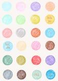 Vektormodell i pastellfärgade färger Runda former för vattenfärg Arkivbild