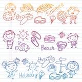 Vektormodell med barnsymboler Sommarsemester på kusten, hav, hav, strand Små ungar som har gyckel vektor illustrationer