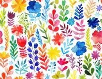 Vektormodell med blommor och växter vektor för ro för illustration för bukettdekor blom- Original- blom- sömlös bakgrund Arkivbild