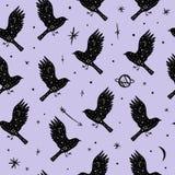 Vektormodell med fåglar, månen och stjärnor, utrymmekonstellationer Härlig väggtextur royaltyfri illustrationer