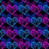 Vektormodell med polygonal hjärtor för neon royaltyfri illustrationer